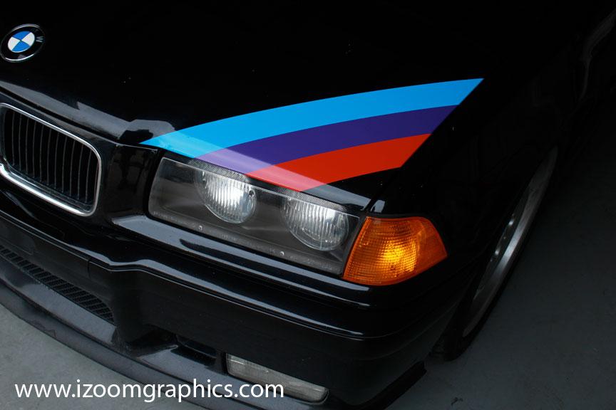 bmw m3 motorsport three color stripe decal e30 e36 e46